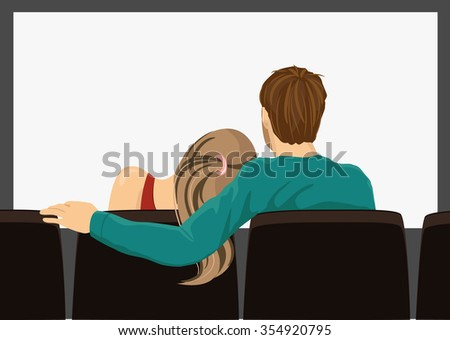 back view illustration of young couple on a movie date