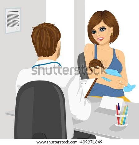 back view of pediatrician doctor examining child. Mother holding baby in her hands - stock vector