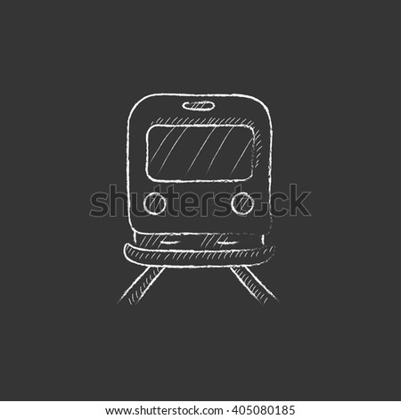 Back view of train. Drawn in chalk icon. - stock vector