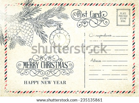 Backdrop of postal card for happy new year holiday. Vector illustration. - stock vector