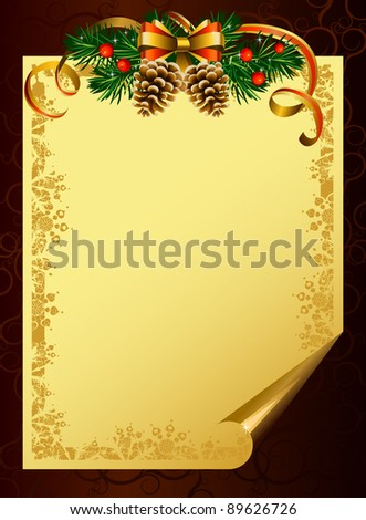 backdrop with evergreen trees and cones - stock vector