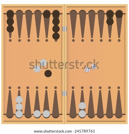 Backgammon on the wooden box, two dice and chips for the game. Vector illustration. - stock vector