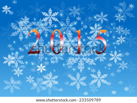 Backgroun blue christmas 2015 with snowflakes - stock vector