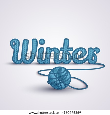 Background about winter concept. Winter word made in knit. - stock vector