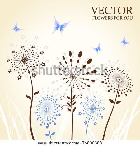 Background abstract flowers silhouette butterfly. Vector illustration - stock vector