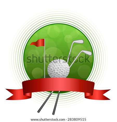Background abstract green golf sport white ball club circle frame red flag ribbon illustration vector - stock vector