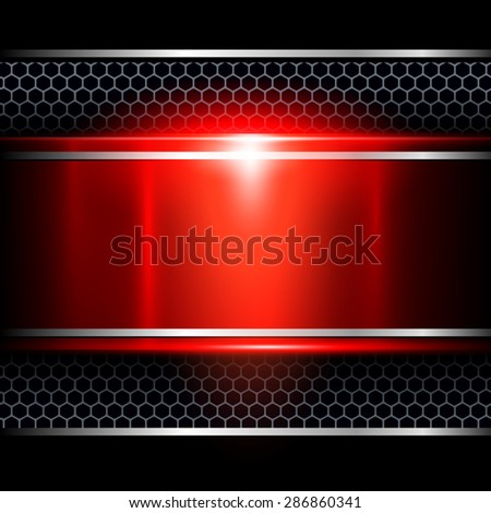 Background abstract red metallic, vector illustration. - stock vector
