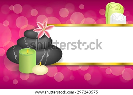Background abstract spa salon therapy stones candle towel lily stripes gold frame illustration vector - stock vector
