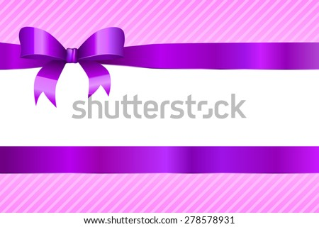 Background abstract violet strips pattern with purple bow vector - stock vector