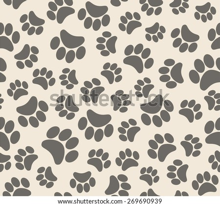 background animal footprints. vector seamless pattern  - stock vector