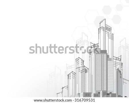 Background architectural vector with drawings of modern city