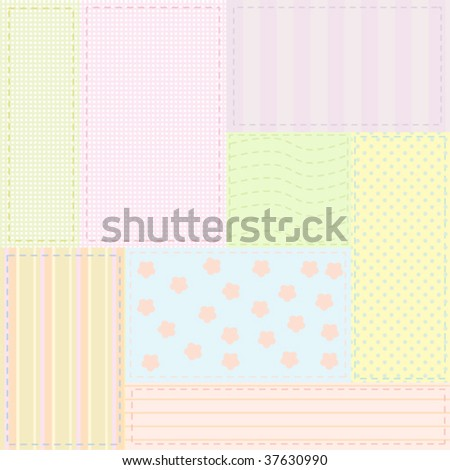 Background baby patchwork pattern for fabrics or wrapping paper; vector illustration - stock vector