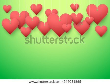 Background beautiful red heart on paper. Vector illustration. Valentines card. Love or medicine theme.  - stock vector