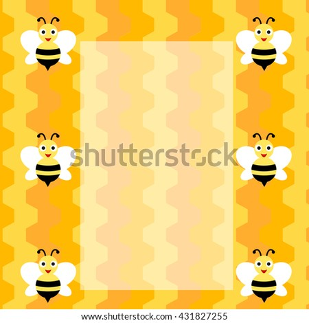 background bee cartoon cells and space for text, template