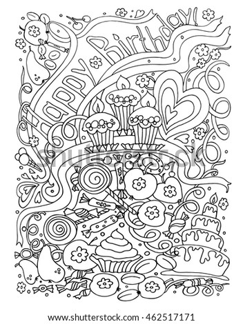 Background  birthday. Black and white doodle vector illustration. Coloring book for adult and older children. Coloring page. Outline drawing.