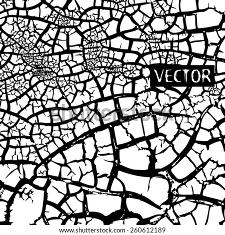 Background black and white crack. Vector - stock vector