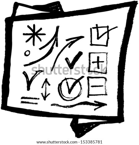 Background. Black arrows and symbols on a white background. Sketch. vector set - stock vector