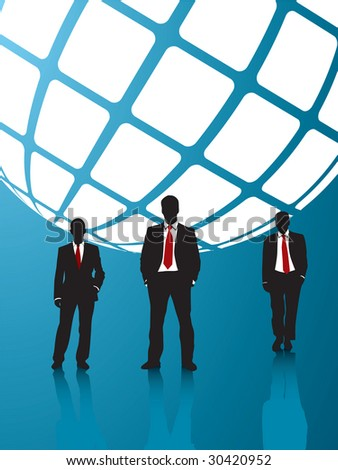 background blue and business people