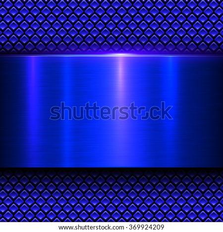 Background blue metal texture, vector illustration. - stock vector