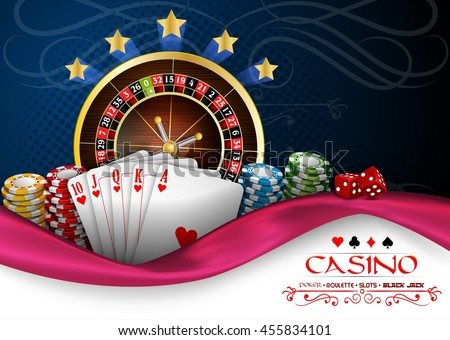 Background blue pink with casino roulette wheel, cards and chips.Vector