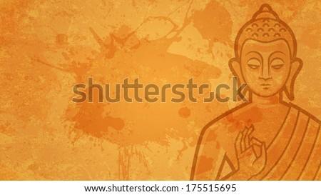 Background Buddha meditates - stock vector