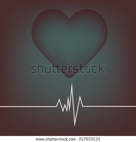 Background cardiogram. Heart and cardiogram symbol. Vector illustration