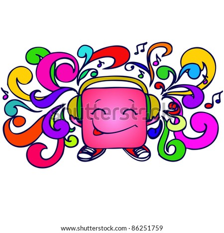 background cartoon child with headphones and various colors swirls - stock vector