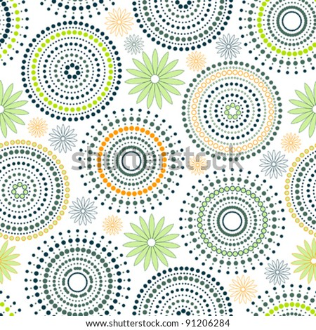 Background - Circles & dots & flower - stock vector