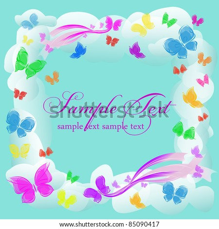 background colorful card with  butterflies in the sky frame with clouds - stock vector