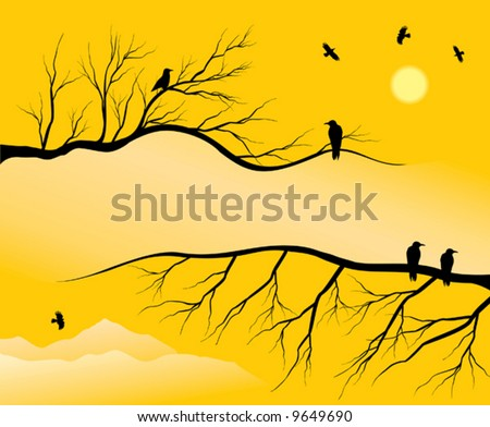 background composed of branchs & crow - stock vector