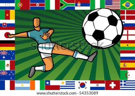 Background composition with soccer player shooting a ball surrounded by countries flags which play the South Africa World Cup. - stock vector