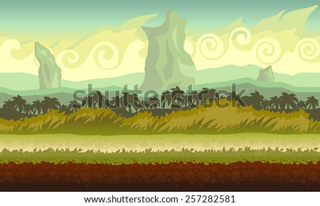 Background concept for a mobile or video game. Seamless cartoon fantasy landscape. Vector eps 10.
