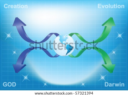 Background concept of creation verses evolution with copy space for own text - stock vector