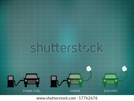 Background concept of green electric car technology with copy space for own text - stock vector