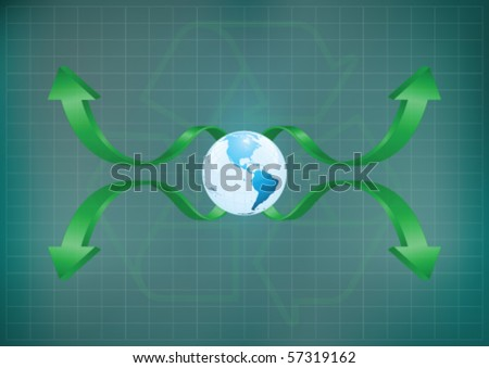 Background concept of planet earth with a recycling theme with copy space for own text - stock vector