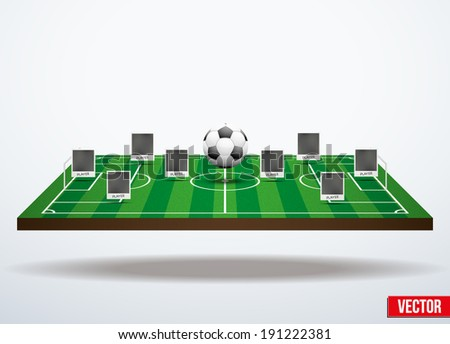 Background concept participants playing soccer. In three-dimensional space. Vector illustration. - stock vector