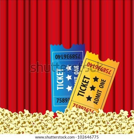 background Curtain movie with popcorn and movie tickets - stock vector
