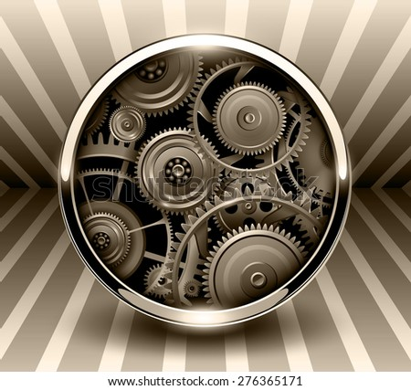 Background 3d, button with machinery gears inside, vector illustration. - stock vector