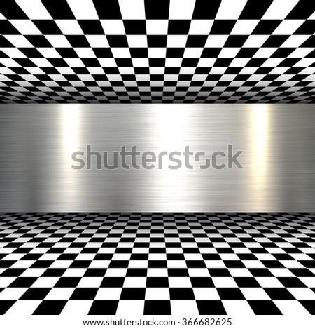 Background 3d with metal texture, vector. - stock vector