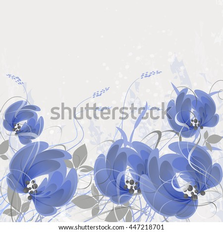 Background decorated with whimsical blue flowers and branches with leaves