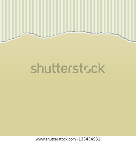 Background design with beige paper torn to reveal a stripes pattern behind. - stock vector