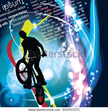 Background design with bmx biker silhouette. Easy editable vector. Eps 10 - stock vector