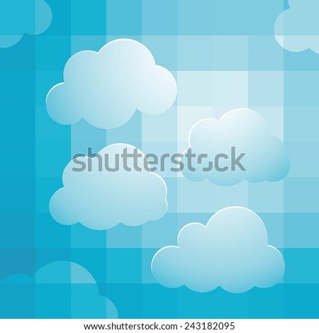 background design with cloudy bright sky - stock vector