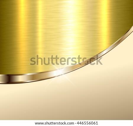 Background elegant beige and gold metal texture, vector illustration. - stock vector