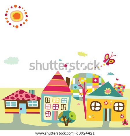 Background featuring a cute village or city, with fun colors and childlike style. - stock vector