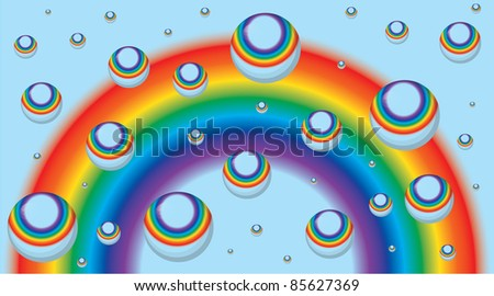Background for a business card with a rainbow and drops - vector eps8