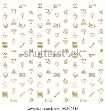 Background for children toys.  Vintage pattern with children toys on a white background. - stock vector
