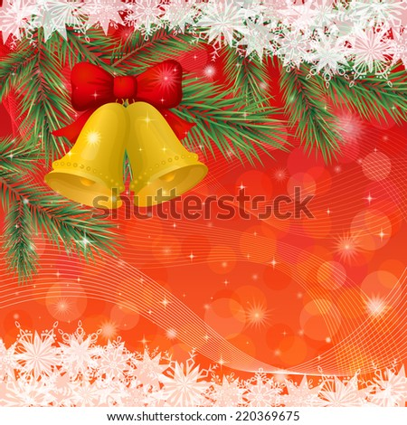 Background for Christmas holiday design, gold bells, pine branch, stars and snowflakes. Eps10, contains transparencies. Vector - stock vector