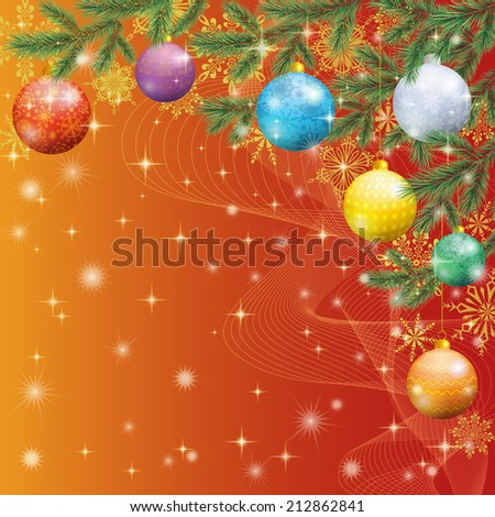 Background for Christmas holiday design, spruce branches, balls and stars. Eps10, contains transparencies. Vecto - stock vector
