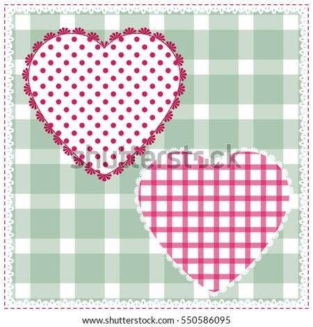 Background for cushion, pillow, bandanna, kerchief, shawl fabric print. Texture for clothes and bedclothes. Vector pattern with hearts for Valentines day. Embroidery stylization